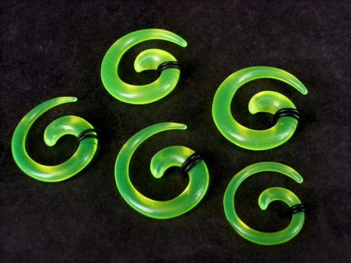 Green Acrylic Spiral Taper Horn Snail Stretcher expander Piercing I-0012