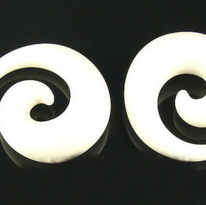 12 pieces white Acrylic Spiral Taper Horn Snail Stretcher Expander Piercing I-0015