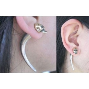 Bronze Skull Rivet Ear Stud Earring Punk Rock Cool Men's Jewelry E-1208