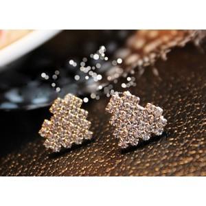 silver/gold plated clear rhinestone cute heart ear stud E-1022