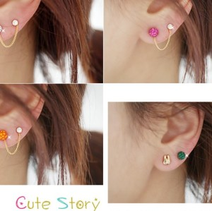 3Pcs Set CHarming Noble Full Rhinestone Ball Rabbit Ear Stud Earring E-0222