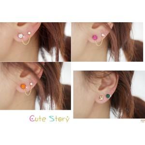 3Pcs Set CHarming Noble Full Rhinestone Ball Rabbit Ear Stud Earring E-0222