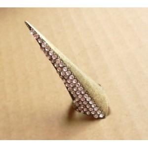 Gothic Punk Rock Bronze Rhinestone Armour Knuckle Talon Nail Claw Ring #6.5 R-1013