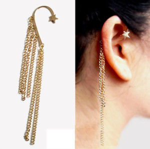 Gothic Punk Stars  Ear Cuff Chain With Fringes Dangle Tassel Gold Earrings E-0089