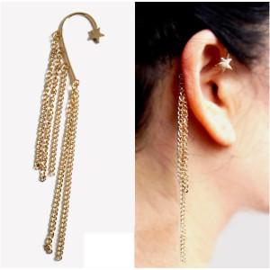 Gothic Punk Stars  Ear Cuff Chain With Fringes Dangle Tassel Gold Earrings E-0089