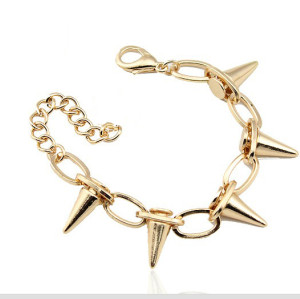 New Gothic Punk Rock Rivets Spike Taper Stud Charms Circle Link Chain Bracelet B-0064