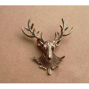 Retro Metal Bronze Hunting Animal Deer Elk Head Brooch Pin P-0071