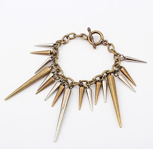 vintage style bronze rivet edging necklace bracelet earring set S-0016