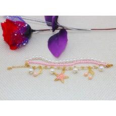 charming multilayer pearl star music symbol bracelet B-0256