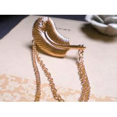 Gothic Punk Rock Chain Feather Leaf Tassel Dangle Ear Cuff Warp Clip Earring E-0096