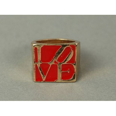 gold plated red glazed quadrate love letter ring R-0719