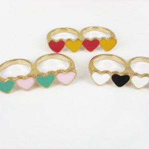 gold plated glazed heart double fingers ring R-0654