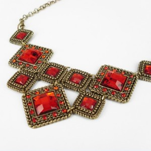 Bohemian vintage style thinestone quadrate gem crystal Choker Necklace N-0564