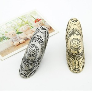 vintage style Punk individuality 2 pieces 2 colors carving Shield joint ring R-0117