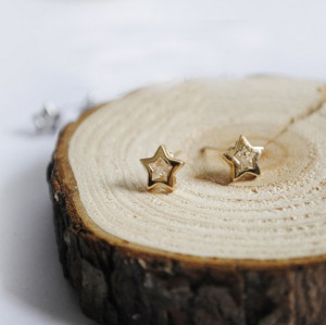 charming gold/silver plated clear zircon star ear stud E-1576