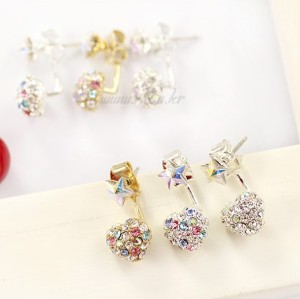 charming silver plated colorful rhinestone heart star ear stud E-1027