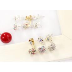 charming silver plated colorful rhinestone heart star ear stud E-1027