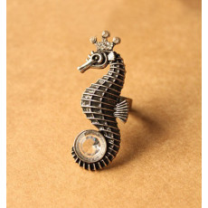 vintage bronze/silver rhinestone sea horse  ring R-0664