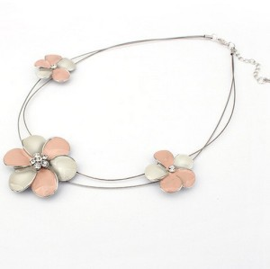 New coming 2 colors rhinestone glazed flower necklace N-0123