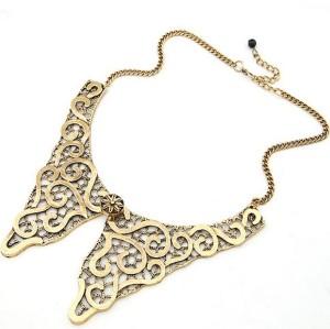 retro Vintage Gold bronze Lace Effect Darkening Symmetry Flower butterfly Necklace  N-2029