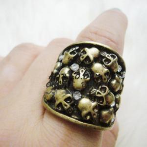 vintage bronze rhinestone skull  ring #7 R-0105