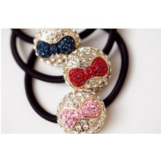 New Rhinestone Bow Knot Ponytail Holder Hair Band Women Accessory F-0082