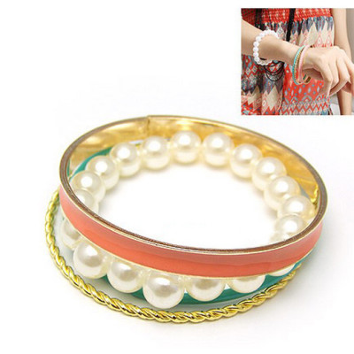 New simple style multilayer gold plated bangle pearl bracelet B-0182