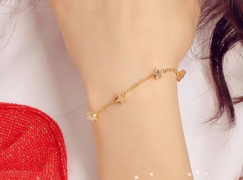gold tone copper cute star heart bracelet anklet B-0130