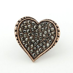 vintage style bronze copper tone alloy rhinestone heart ring adjustable R-0686