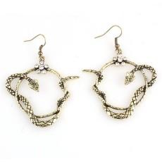 Vintage style silver/bronze rhinestone flower snake dangle necklace earring E-1174