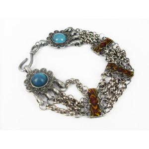 B-0029 Retro bohemian style silver alloy glazed sunflower bracelet