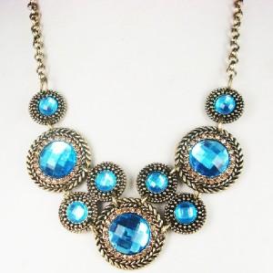 N-0563 Bohemian vintage style rhinestone round gem crystal Choker Necklace