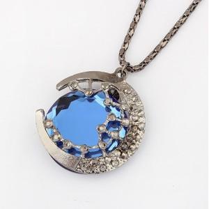 N-0576 vintage style gun black alloy star moon blue crystal pendant necklace