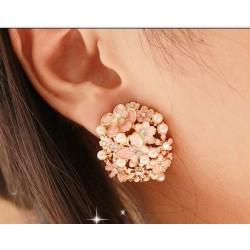E-0219 new style charming pearl rhinestone flower butterfly earring ear stud