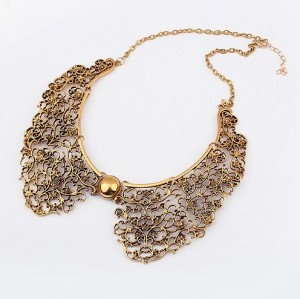N-2007 Womens Copper Tone Metal Hollow Out Lace Design Flower Collar Choker Necklace
