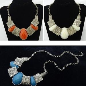 N-1036 European style luxurious fashion simple stripe polygonal gem necklace