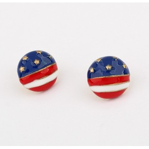 New Design Jewelry Enamel US America Flag Ball Ear Stud Earrings E-0560