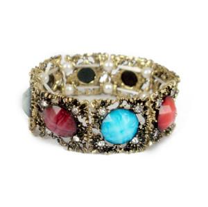 B-0016 Retro Rhinestone Rhinestone Small Flower Candy Faux Gem Beads Stretch Bracelet