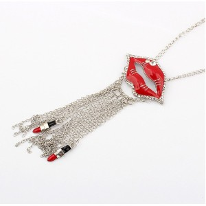 N-2893 Fashion all-match diamond sexy lips mouth fringed Red Long Necklace