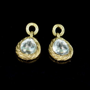 E-0271 Vintage Sstyle Clear Faux Crystal Drop Dangle Stud Earrings
