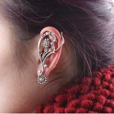 E-0577 Vintage Style leaf flower rhinestone ear cuff ear stud clip