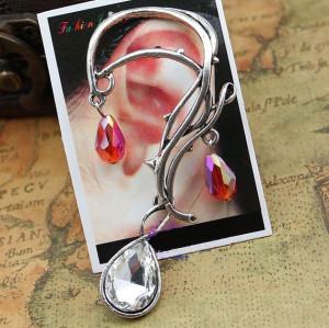 E-1177 Vintage Style rattan leaf crystal drip ear cuff ear stud