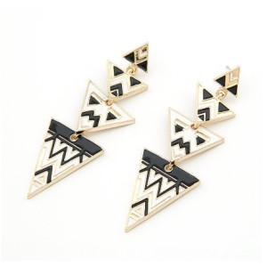 E-2034 Bohemian Enamel Geometrical Triangle Ear Stud Gold Plated Boho Long Earrings