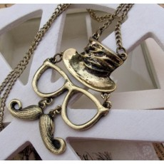 N-2872 Hot Retro Cosplay Rock Mustache Glasses Hat Face Charm Pendant Necklace