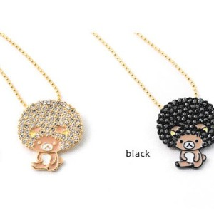 N-3349 Lovely black rhinestone the explosion head bear necklace