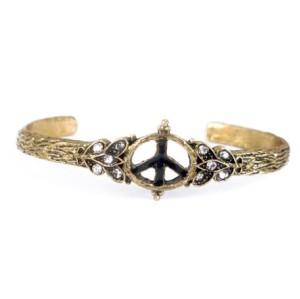 B-0216 Retro Rhinestone Peace Sign Symbol Bangle Bronze Opened Cuff Bracelet