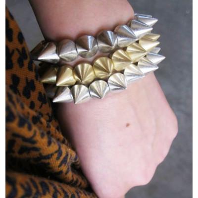 B-0022 punk style gold silver bronze gun black tone rivet Stretch bracelet