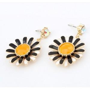 E-0231 New Multi Layer Enamel Petal Flower Colorful Rhinestone Ear Stud Earrings