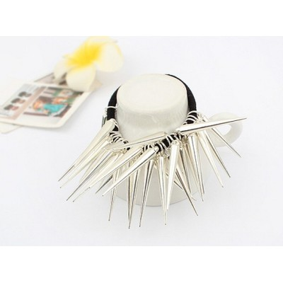 F-0062 punk style silver gold tone Triangular pyramidal hairband rope
