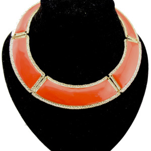 N-2096 gold plated carving Punk geometry enamel  collar Necklace